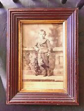 19th C Small Victorian Walnut Picture Frame, Gold Liner, Cut Nails, Old Photo