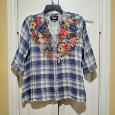 JOHNNY WAS WORKSHOP Perrine Easy V-neck top with floral embroidery Sz. S