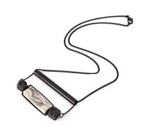 Punk Vintage Dumb Black Copper Chain Necklace Rectangular Clay Pendant Gift P21