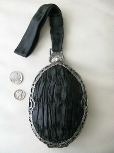 Antique Silver Floral Bow Filigree Gathered Black Silk Grosgrain Wristlet Purse