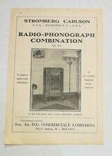 Pubblicità 1934 RADIO STROMBERG PHONOGRAPH COMBINATION advert reklame werbung