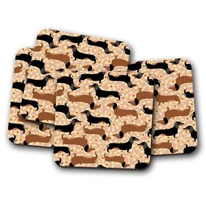 4 Set - Funky Cute Sausage Dog Coaster - Flowery Minature Dachshund Gift #16334