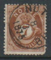 Norway - 1871/5, 7sk Brown stamp - Used - SG 45 or 46