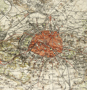 1895 Antique city map of PARIS, FRANCE. 126 years old chart.