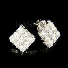 ~Geometric Square Made with Swarovski CRYSTAL Bridal Bride Wedding stud Earrings