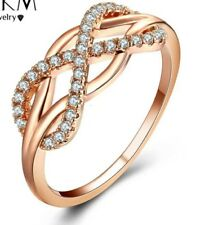 Rose Gold Eight Round Silver Diamonds Ring Formal Gift Evening Dress Party