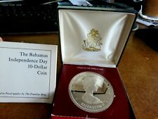 1973 Bahamas Independence Day $10 Dollar Silver Coin Proof Boxed