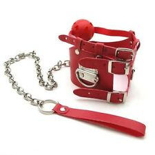 Fetish Bondage Gimp Neck Collar With Ball Gag And lead - Red