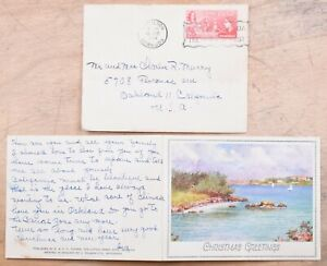 Mayfairstamps Bermuda 1954 Cover & Christmas Greetings Card to USA wwm95159
