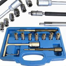 10pc Diesel Injector Seat Cutter Tool Cleaner Set Universal Re-Face Score Kit