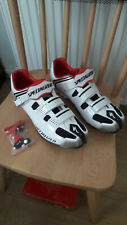 Specialized Body Geometry Cycling Shoes size 9.6, white with black & red trim