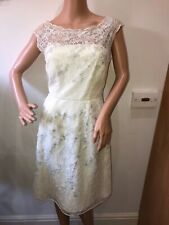Monsoon cream lace embroidered beaded occasion dress size 12 wedding