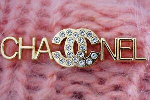 CC LOGO 1 One  Chanel button 1 pcs  emblem gold & crystals