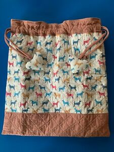 Handmade Medium Storage Quilted Fully Lined Dog Print Drawstring Bag