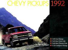 1992 CHEVY PICKUP BROCHURE -C1500-K1500 4x4-C2500-K2500 4x4-C3500-SS454-S10