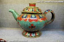 Tibetan Copper handwork embed turquoise Red coral Fane Wine & Tea Pot Flagon