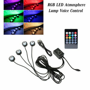 USB Car Interior LED Star Light RGB Atmosphere Lamp Projector Voice Control