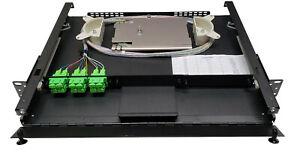 12 Fiber 1RU Rack Mount w/ 6 SC/APC Duplex Adapters, Singlemode Pigtails & Tray