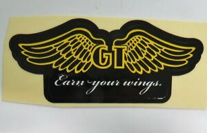 GT Bike Decal Sticker Earn Your Wings BMX  Yellow , White & Black