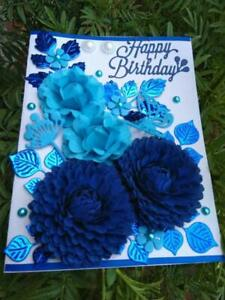3D Greeting Card Handmade Happy Birthday Card 3D flowers blue flowers