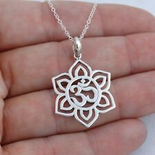 Lotus Flower Om Necklace - 925 Sterling Silver - Namaste Yoga Ohm Symbol NEW
