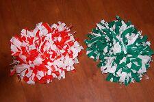"""Cheer Poms 7"""" Orange/White & Green/White Pom Poms Play Kids Cheerleader Spirit"""