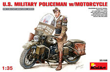 Miniart 1/35 U.S. Military Policeman w/Motorcycle  #35168 *sEALED*new*