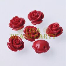 New 10pcs 12mm Rose Flower Synthetic Coral Charms Loose Spacer Beads Deep Red