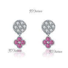 925 sterling silver cz stud Screw back baby kids flower earrings rose red dangle