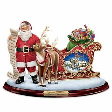 Thomas Kinkade Almost Christmas Lighted Musical Motion Santa & Reindeer NEW
