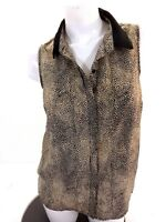CHLOE K WOMENS ANIMAL PRINT SLEEVELESS BLOUSE SIZE M