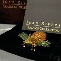 Pinecone Bee Pin New in Box Joan Rivers Brooch Pouch Storage Bag Romance Card