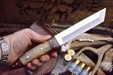 CFK Custom Handmade D2 Buffalo Horn Walnut Large Tanto Hunter Blade Shogun Knife