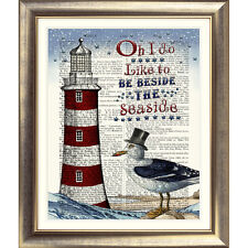 ART PRINT ON ORIGINAL ANTIQUE BOOK PAGE LIGHTHOUSE Picture Quote Sea Seagull Old