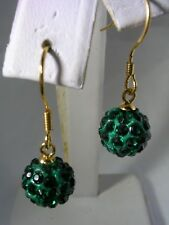 EMERALD GREEN CRYSTAL BALL HANGING EARRINGS GOLD TONE 8MM IN STERLING SILVER