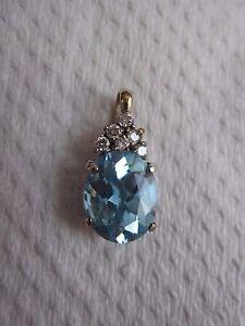18K white gold real aquamarine pendant