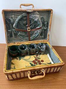 Vintage Wicker Picnic Basket 4 Person Accessories & Oil Cloth Table Cloth. Case