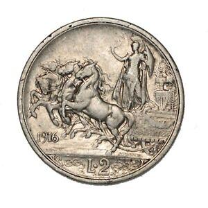 ITALIA Vittorio Emanuele III 2 Lire Quadriga Briosa 1916 Argento Silver
