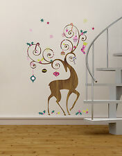 ORNAMENTAL REINDEER GiaNT WALL DECALS NEW Christmas Stickers Holiday Decorations