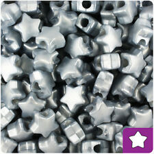 250 Grey Silver Gray Pearl 13mm Star Pony Beads Plastic Made in the USA