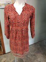 Lucky Brand Paisley Print Dress -Women's Size S 3/4 sleeve midi orange/red