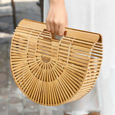 Womens Retro Handbags Ladies Bamboo Summer Beach Clutch Bag
