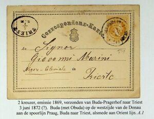 HUNGARY AUSTRIA 1870's 2kr FRANZ JOSEF POSTAL CARD FROM BUDA-PRAGERHOF TO TRIEST