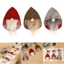 Christmas Hat Santa Gnome Cutlery Holders Knives Forks Bag Dinner Decor US .W