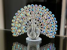 CRYSTAL and BEADS AROURA BOREALIS PEACOCK RARE and GORGEOUS!!! LARGE