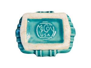 "Vintage McCoy Vase Green Rectangle Ceramic Glazed Approx. 9"" in. Crazing"