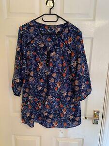 Blue & Pink Floral M&S Per Una Blouse Top Size 16 (A8692)