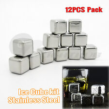 12X Whisky Ice Cube Tray Stainless Steel Wine Rock Glacier Chillers Drink Stones