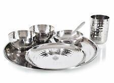 Stainless Steel Hammered Dinner Thali Set, Standard, Silver, 7 Piece