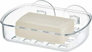 Soap Dish Holder Bathroom Shower Bath Plastic Soap Case Tray Strong Suction Pads